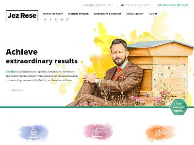 Jez Rose 2017 responsive banner navigation header paint effect icons watercolor website