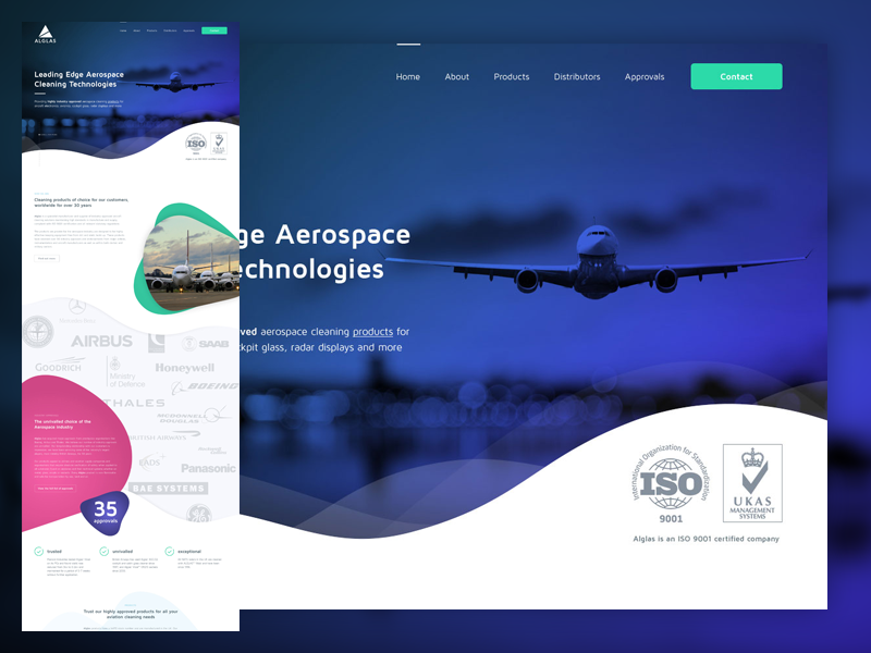 Alglas Aerospace masks banner navigation bubbles waves gradient website