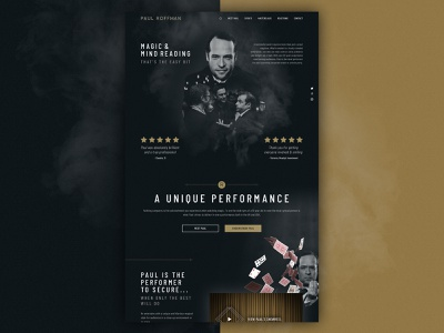 Paul Roffman : Magic & Mindreading responsive header banner navigation reviews website magic art deco double exposure dark
