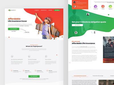 Insurance Hero re-design responsive navigation banner header buttons blobs website insurance