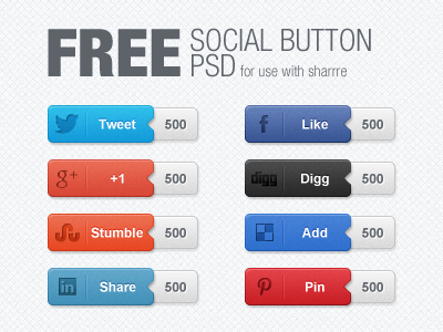 Free Social Button PSD free freebie social share button buttons twitter facebook