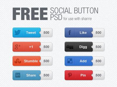 Free Social Button PSD free freebie social share button buttons twitter facebook