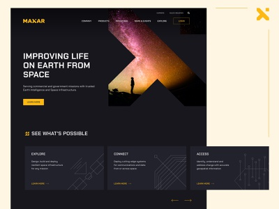 Maxar - Experimental Home Redesign earth space dark color interface homepage home page landing landing page design hero section ui uidesign