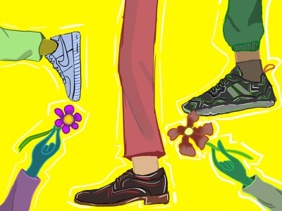 SHOES AND FLOWERS illustration