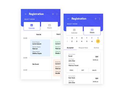 Registration UI/UX calendar registration uxd technologies design studio creative neat clean latest shikha gupta ui ux