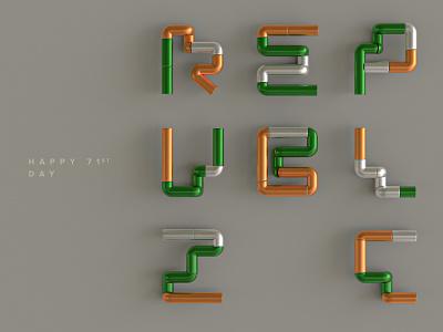 Happy Republic Day celebration branding abstract flag white green orange indian creativity creative design cinema4d 3d art republic day