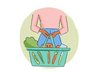 Shopping safety during lockdown basket groceries safety shopping covid19 lockdown illustration
