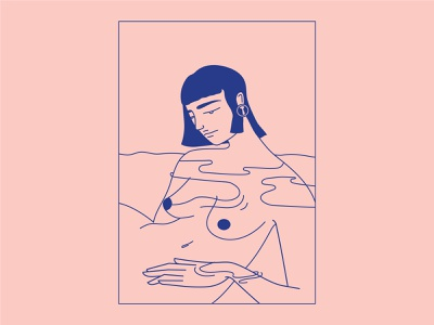 Water Healing spiritual mentalhealth lineart illustration healing water relax calm female