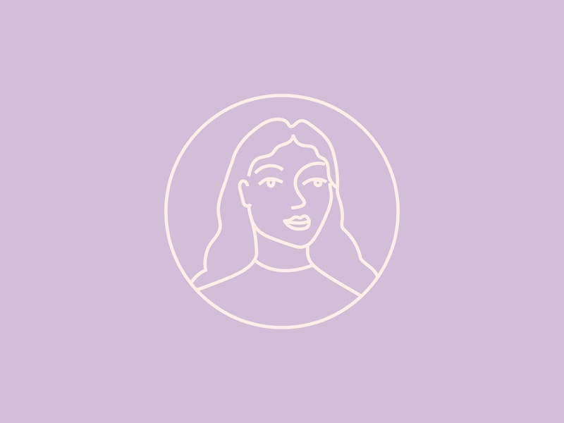 Self portrait stamp woman illustration icon artwork graphic design stamp simplicity line art vector illustration brand identity design
