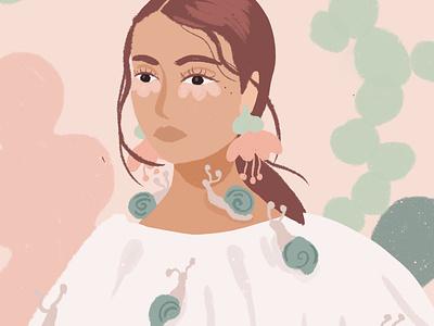 Fragile illustration painting brush girl sweet sans snails petals green pink flowers soft