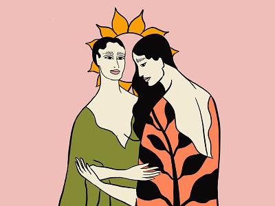 Growth women love support growth sunflower art painting illustration guidance wisdom sisterhood