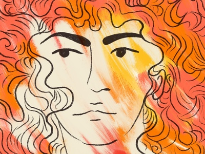passion wild spirit curly hair line art red firey passion art painting illustration