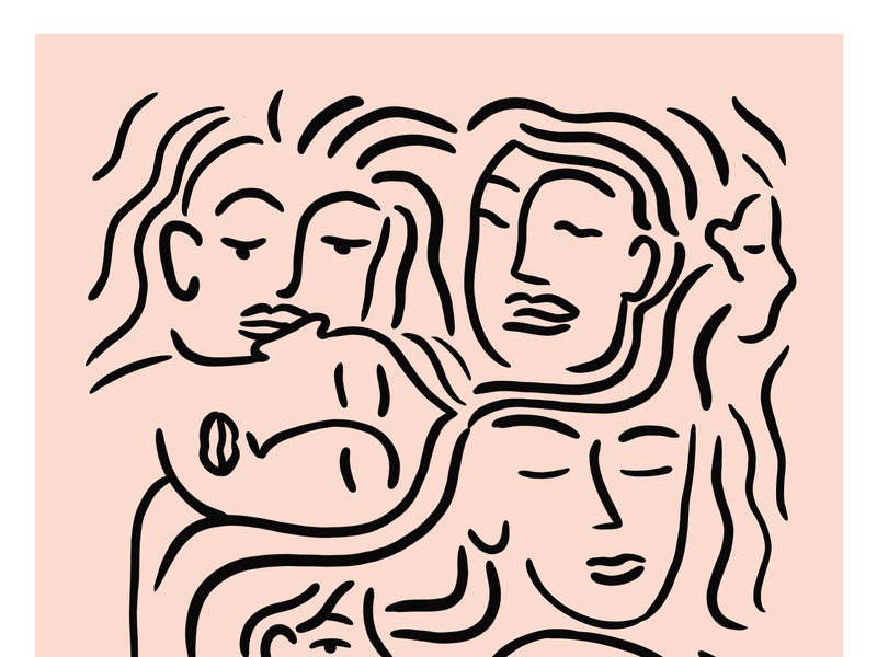 All Of My Faces mental health wellness pink line art pro create female art illustration