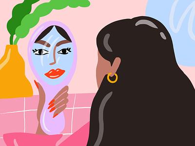 Mirror mirror mental health self love pink beauty illustration