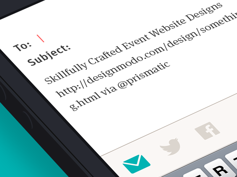 Email Share color baseline layout grid minimal clean simple glyphs flat green brown prismatic iphone ios modernism share screen share email input form twitter facebook button