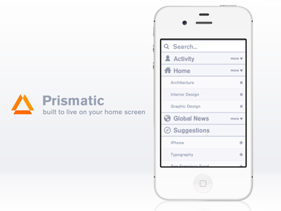 You can go anywhere with Prismatic button grid menu nav sidebar list search app application design iphone prismatic ui icon ios news phone typography logo