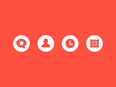 Nav Icons nav web icons prismatic red orange flat glyphs simple clean crisp icon design menu minimal grid clock people swiss buttons