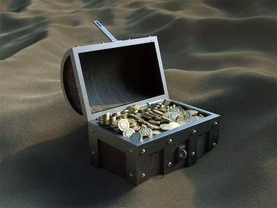 Gold Chest 3d sand gold chest nael octane c4d