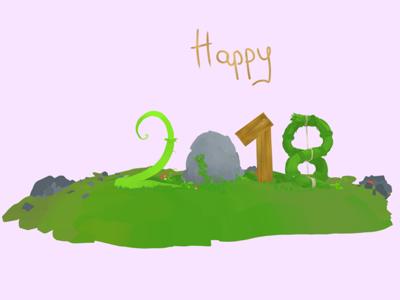 Happy 2018 new year sketchfab nael 2018 illustration 3d vr quillustration quill