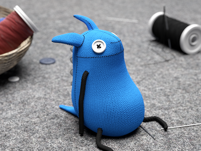 Monster doll toy otoy hdrilink button blue thread sewing plush doll nael 3d octane c4d monster