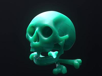 Skull & Ghost jade ghost dead design animation everyknowandthen hdrilink nael octane 3d c4d skull and crossbones skull
