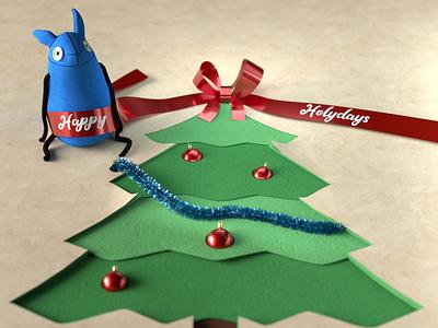 Merry xmas hdrilink blue monster doll tree papercut octane everynowandthen c4d