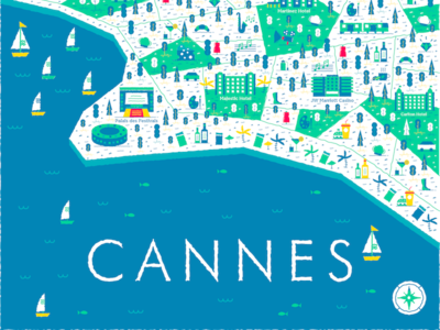 Cannes hotel wine summer sea beach map illustration cannes