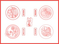Food menu 🤩 salmon flat vegetables illustrations delicious line food