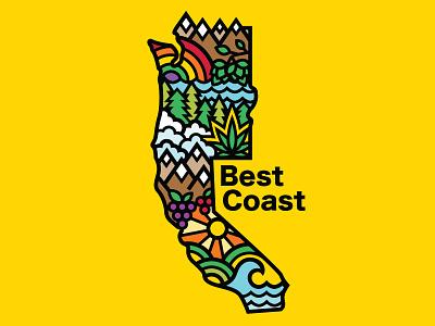 West Coast = Best Coast mountains cannabis weed washington oregon california nature best coast west coast color rainbow colorful thick lines illustration