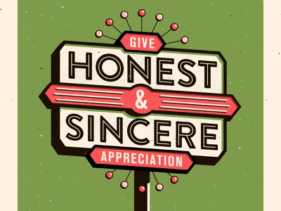 1. Give honest & sincere appreciation signage vector vintage how to win friends typography illustration