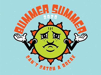 Bummer Summer typography print retro sun vintage vector illustrator illustration summer bummer