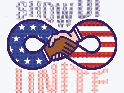 Rise Up Show Up Unite america usa red white and blue thick lines typography illustration texture vector 2020 presidential election biden unite show up rise up