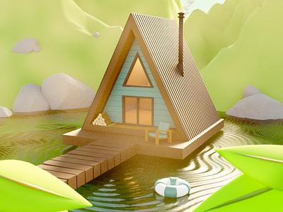 Summer Cabin Hideaway camping lake summer cabin blender 3d