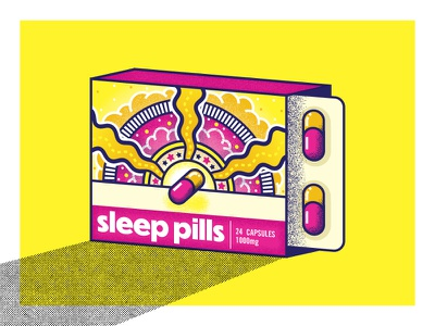 Sleep... there's a pill for that! trippy 70s illustration pills sleep
