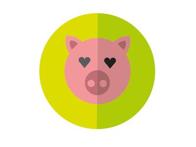 Pig logo flat animal pink green amore love maiale pig