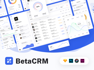 BetaCRM UI Kit for SaaS and CRM Admin Dashboards crm portal crm software crm kanban ui ui kit saas project asana management admin app dashboard