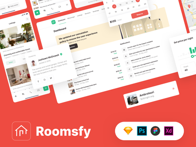 Roomsfy Web and Mobile UI Kit template themeforest theme ui design ux room room booking hotel booking real estate apartment booking.com booking airbnb management ui kit ui saas admin app dashboard