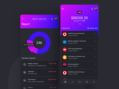 IOWallet UI Kit for Cryptocurrency and Stock Apps dark mode dark ui mobile app mobile ui report crypto currency crypto wallet cryptocurrency fintech banking ux ui ui kit saas admin app dashboard