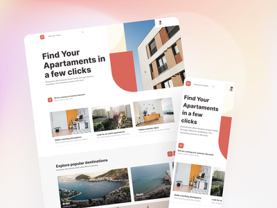Landing page for apartments rent and booking inspiration theme template product design saas design saas landing page design landing page landing airbnb booking rent apartment real estate ux ui kit ui admin dashboard