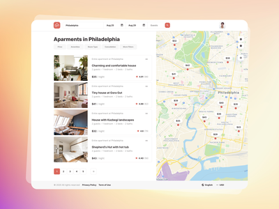 Search for apartments - Roomsfy UI Kit real estate rent template search results search landing apartments apartment hotel booking map airbnb app ux ui kit ui admin dashboard