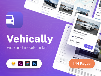 Vehically - UI kit for Car Dealership and Auto Auctions dashboard design template web ios car app dealer dealership auto dealer auction auto auction auto car management ux saas ui kit ui admin dashboard app