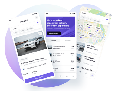 Auto Auctions and Car Search Results - Vehically UI kit map search results search dealership dealer rental rent app design android ios vehicle car auto ux saas ui kit ui admin app dashboard