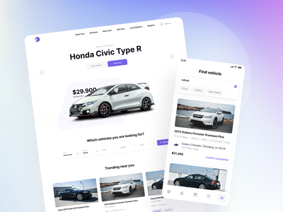 Car Dealership Landing Page - Vehically UI kit website rent auction dealer vehicle car auto template ui design ux ui kit ui landing page design landing page landing