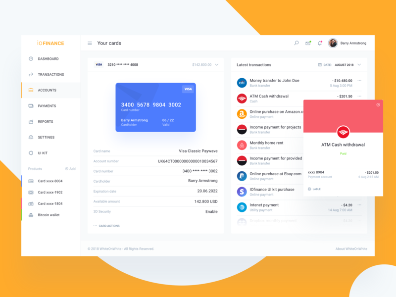Accounts dashboard. Finance and banking service UI credit card accounting paypal pay invoice fintech charts report budget b2c b2b service app admin dashboard bank payment wallet banking finance