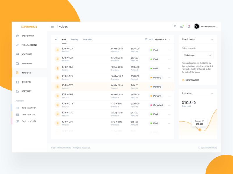 Invoice Template - IOFinance UI Kit by WhiteOnWhite Digital on Dribbble