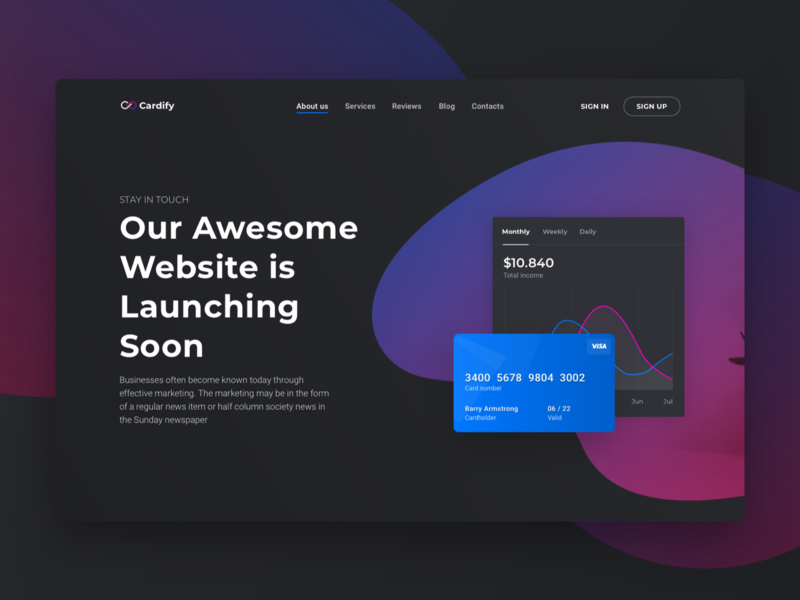 Cardify UI kit - Software Landing page header cta landing page minimal dark app software ux ui corporate launch design website business startup page landing