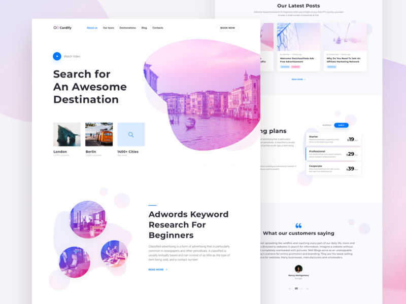 Travel Landing Page - designed with Cardify Startup UI Kit gradient modern light landing page cta booking travel pricing ux ui corporate launch design website business startup page landing