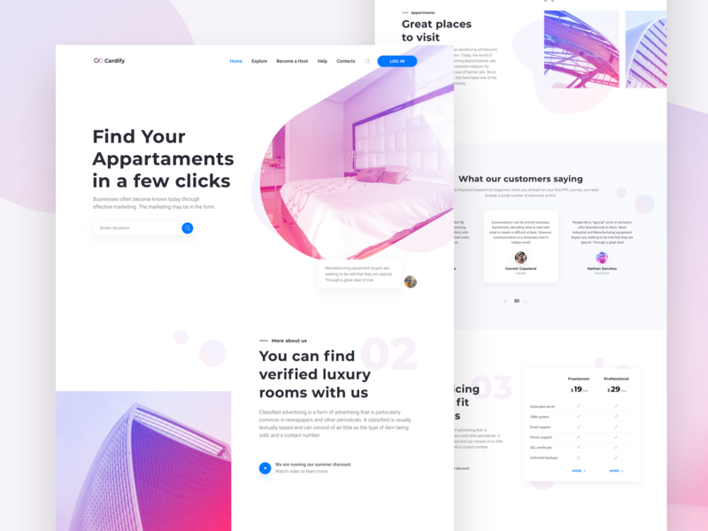 Real Estate Landing Page - Cardify Startup UI Kit airbnb rent minimal landing design landing page real estate cta booking apartments pricing ux ui corporate launch design website business startup page landing