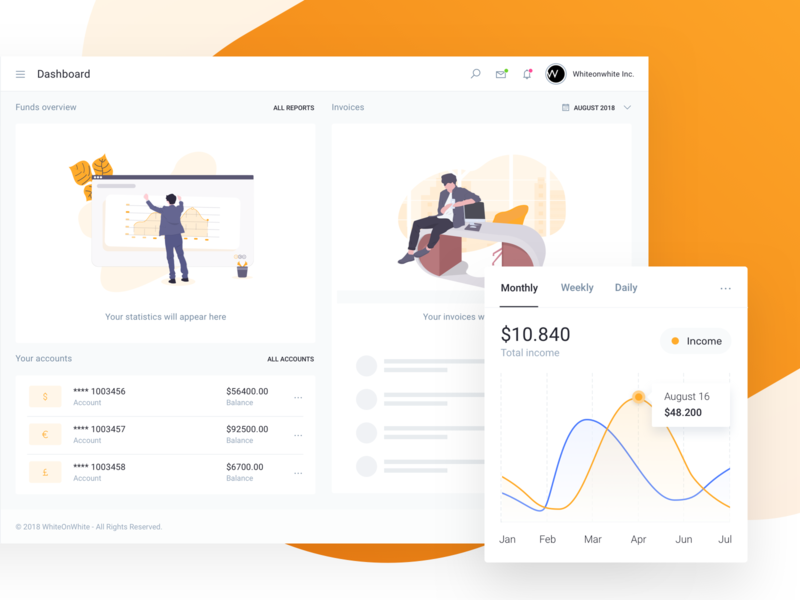 IOFinance UI Kit empty states example empty state illustration accounting paypal charts reports budget b2c payment wallet bank banking fintech finance saas app ui kit admin dashboard