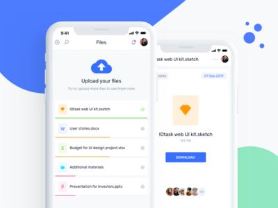 IOTask Mobile UI Kit - File Upload & Management